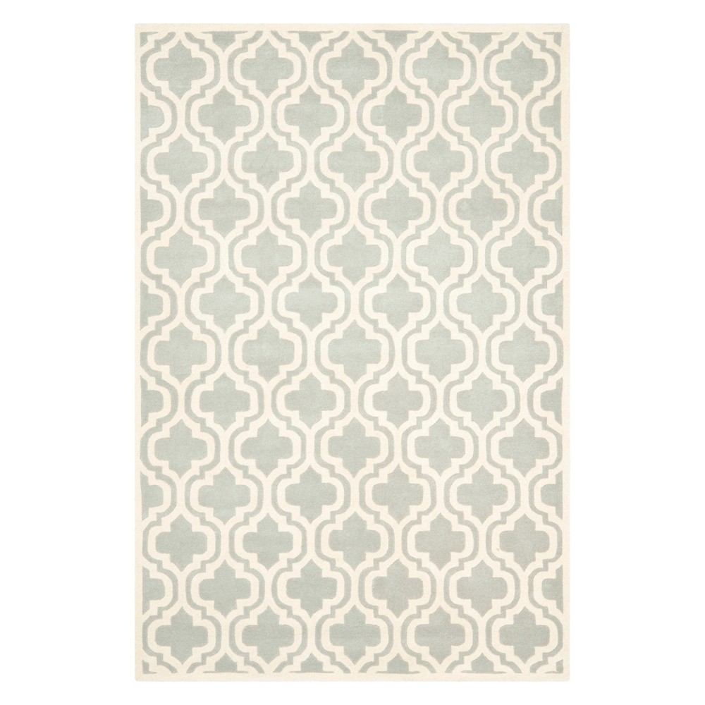 6'X9' Quatrefoil Design Tufted Area Rug Gray/Ivory - Safavieh
