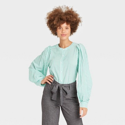 Women's Balloon Long Sleeve Button-Down Femme Top - A New Day™