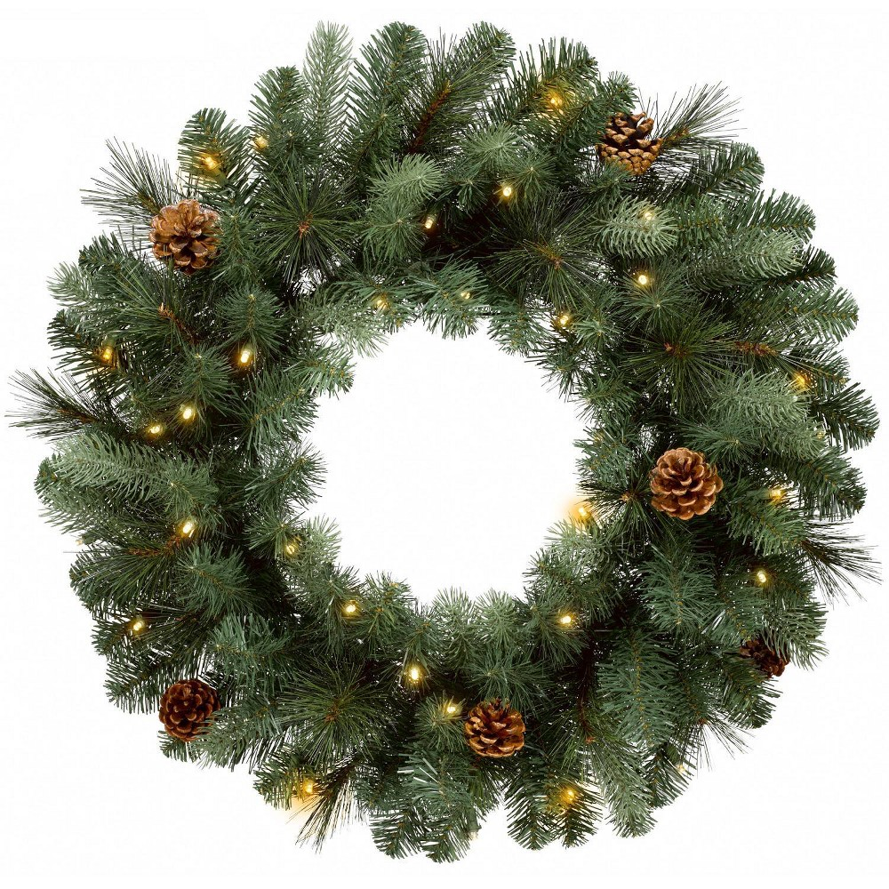 """Image of """"Philips 28"""""""" Christmas Decorated Prelit Artificial Pine Wreath White LED lights, Green"""""""