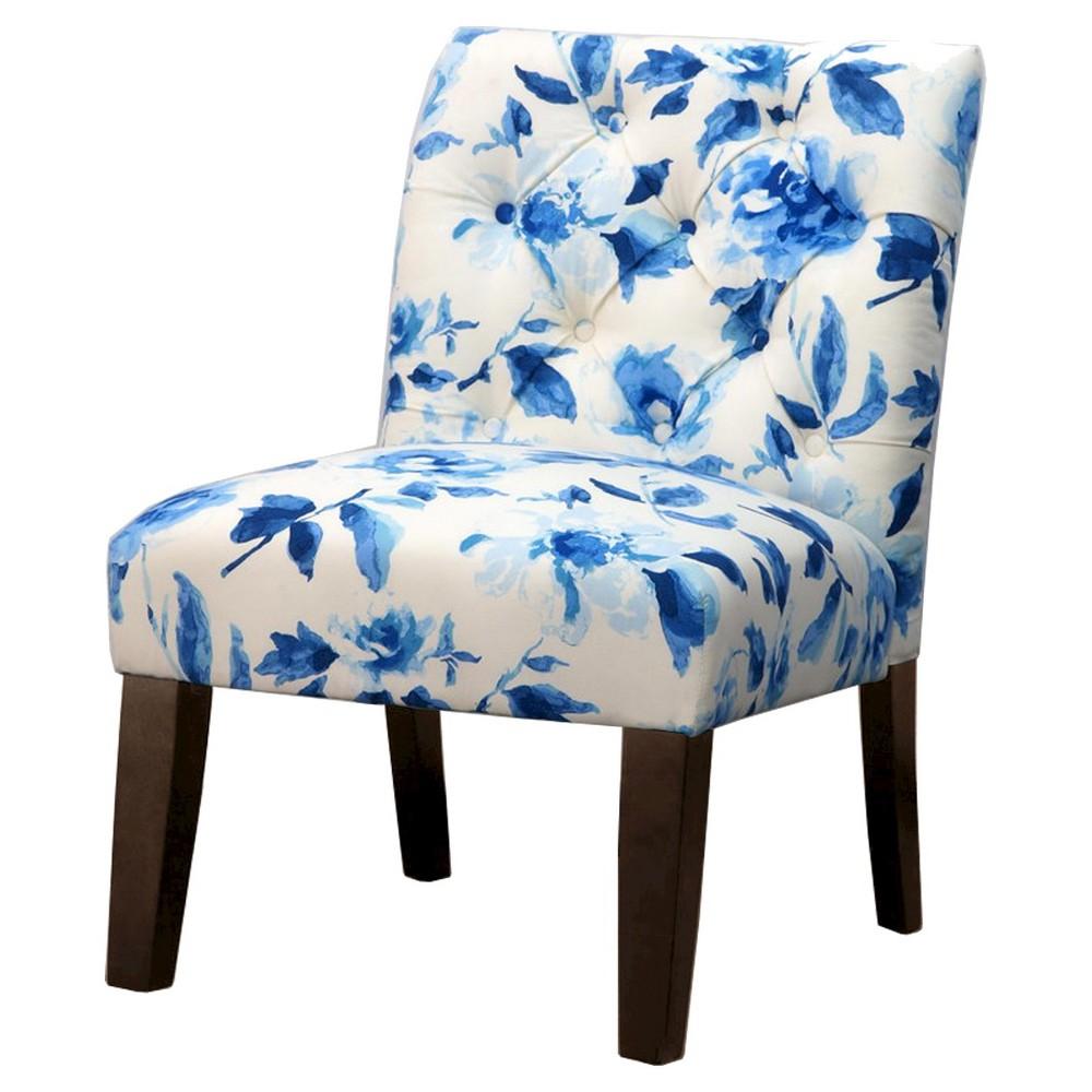 Geneva Tufted Slipper Chair - Blue/White Floral - Threshold