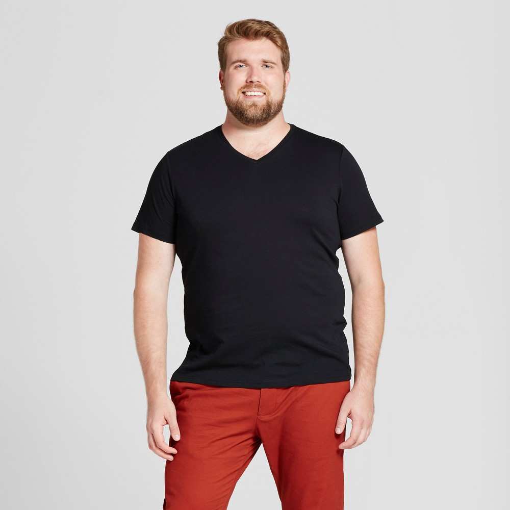 Men's Tall Standard Fit Short Sleeve V-Neck T-Shirt - Goodfellow & Co Black Xlt