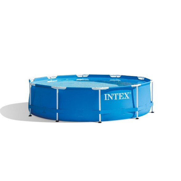 Intex 10ft x 30in Round Metal Frame Backyard Above Ground Swimming Pool,  Blue