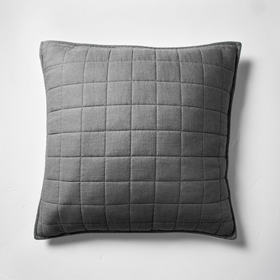 Euro Heavyweight Linen Blend Quilted Pillow Sham Dark Gray - Casaluna™