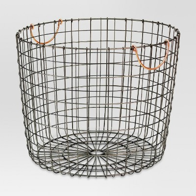 Extra Large Round Wire Decorative Storage Bin with Handles Copper - Threshold™