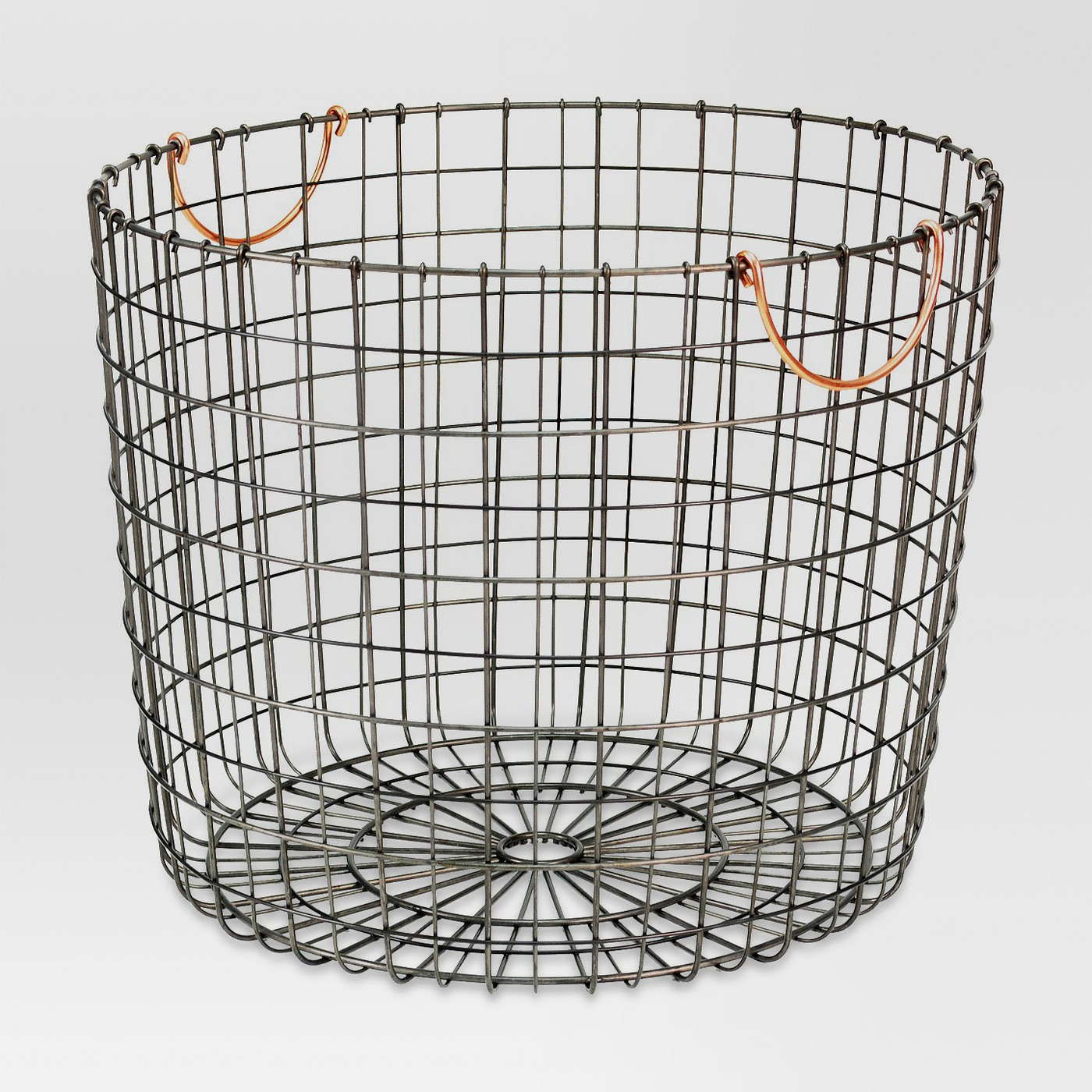 Extra Large Round Wire Decorative Storage Bin - Antique Pewter with Copper Handle - Threshold™ - image 1 of 5