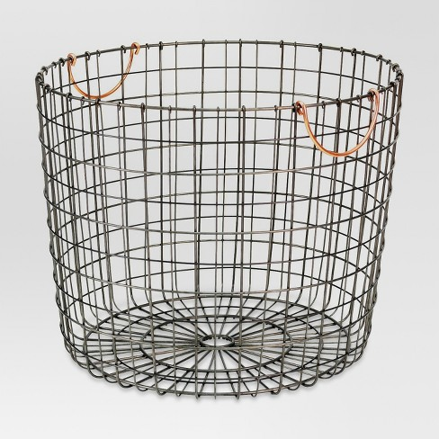 Extra Large Round Wire Decorative Storage Bin with Handles Copper - Threshold™ - image 1 of 4