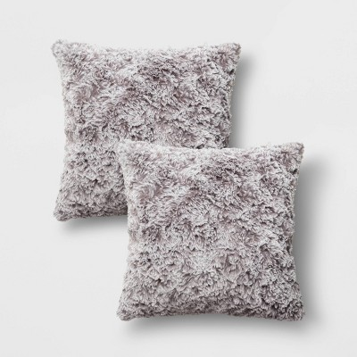 2pk Square Tipped Faux Rabbit Fur Throw Pillow Gray