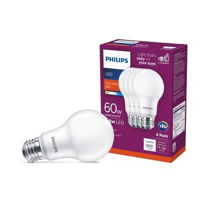 Philips Basic A19 60W E26 2700K LED Light Bub T20 Soft White