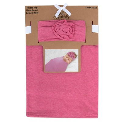 Baby Essentials Textured Knit Swaddle and Headband - Pink