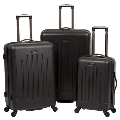 Heritage Lincoln Park 3 Piece Nested Luggage Set Lightweight ABS Upright Suitcases - Black (20 25  29 )
