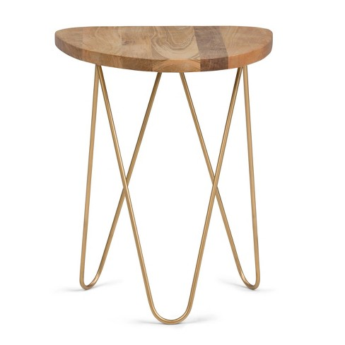 Patrice Metal And Wood Accent Table Natural Gold Simpli Home
