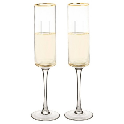 2ct  H  Monogram Champagne Flute Gold