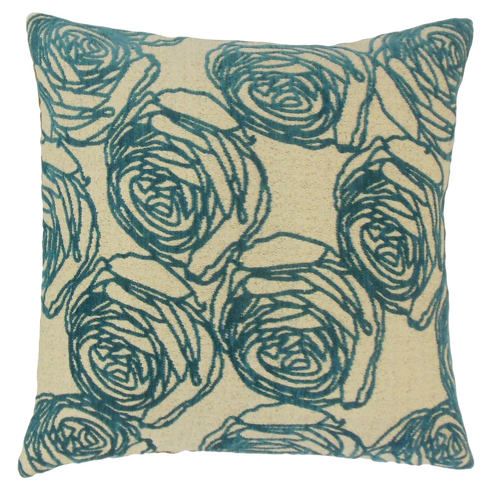 Teal Floral Textured Square Throw Pillow (18