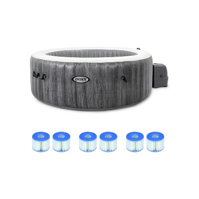 Intex PureSpa Greywood Deluxe 85in x 25in Outdoor Portable Inflatable 6 Person Round Hot Tub Bubble Jet Spa with 6 Type S1 Pool Filter Cartridges