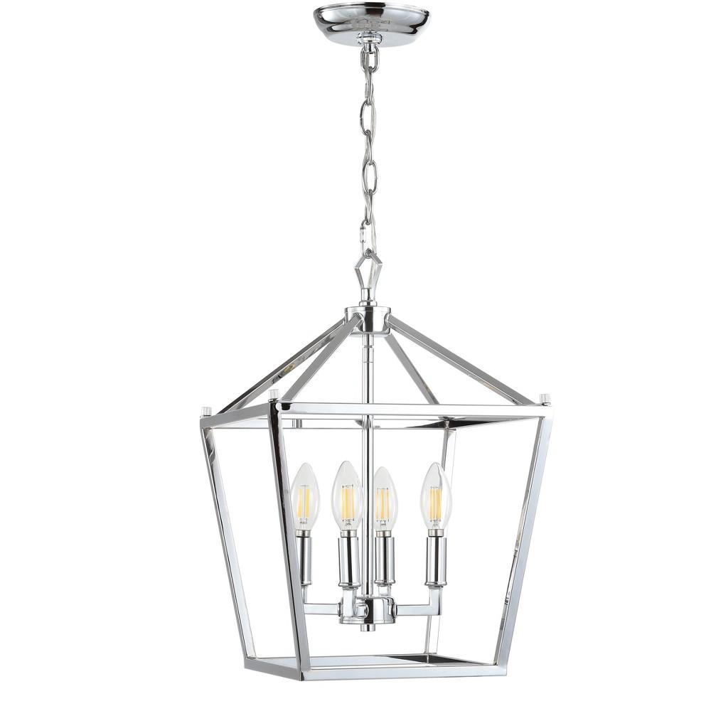 Image of 12 Pagoda 4 Bulb Lantern Metal Led Pendant Chrome (Grey) - Jonathan Y