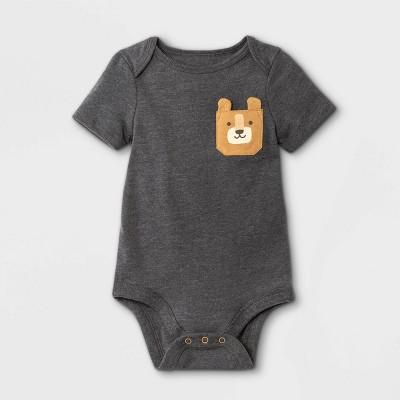Baby Boys' Animal Short Sleeve Bodysuit with Pocket - Cat & Jack™ Charcoal Gray