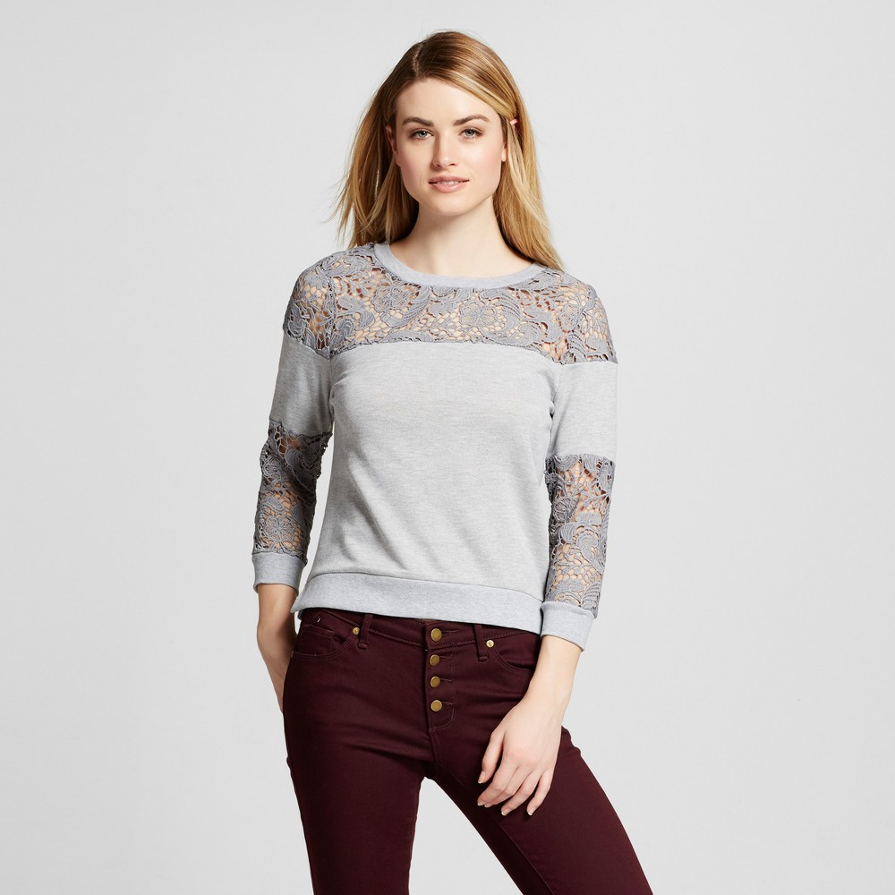 Women's Crochet Lace French Terry Sweatshirt Heather Gray M - Poetic Justice