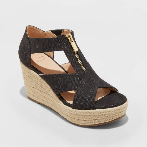 Women's Carrigan Front Zipper Espadrille Wedge Sandals - A New Day™ - image 1 of 3