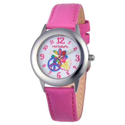 Girls' Red Balloon Peace-Love & Happiness Stainless Steel Watch - Peach - image 1 of 2