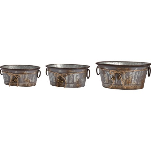 Transpac Metal 17 in. Silver Christmas Galvanized Containers Set of 3 - image 1 of 1