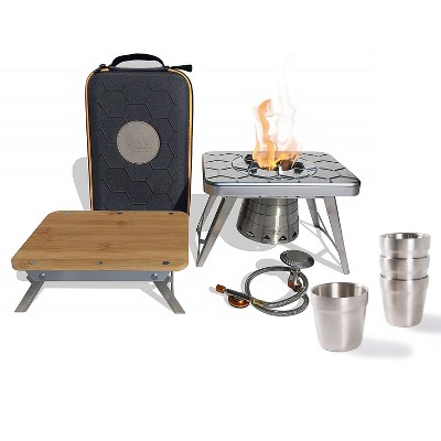 nCamp 4 Piece Outdoor Camping Cooking Stove Prep Surface Set and Carrying Case Bundle with 4 Pack 6 Oz Stainless Steel Stackable Cups Camping Set