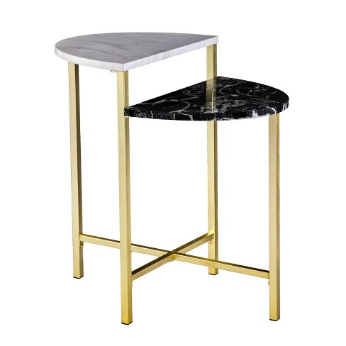 Holly Martin Bickly 2 Level End Table Brushed Gold With Black And White Faux Marble