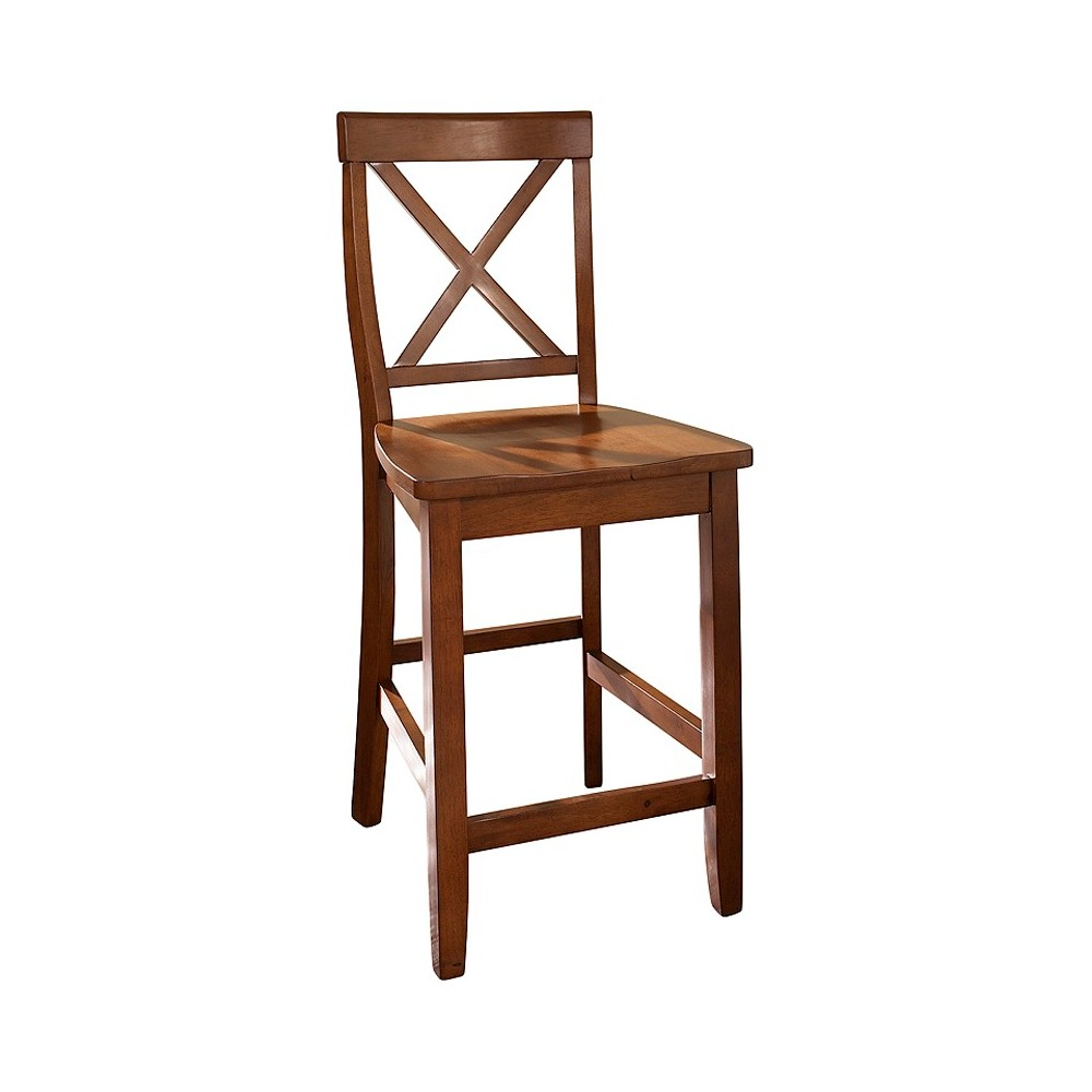 24 X-Back Counter Stool - Cherry (Red) (Set of Two) - Crosley