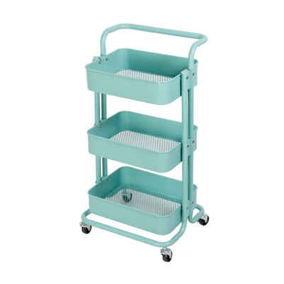 3 Tier Mobile Storage Caddy in Matte Turquoise - Pemberly Row