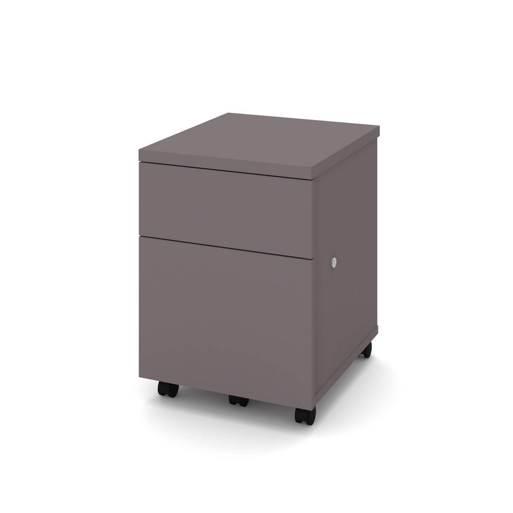 Image of 1U1F Mobile File Cabinet Slate - Bestar, Grey