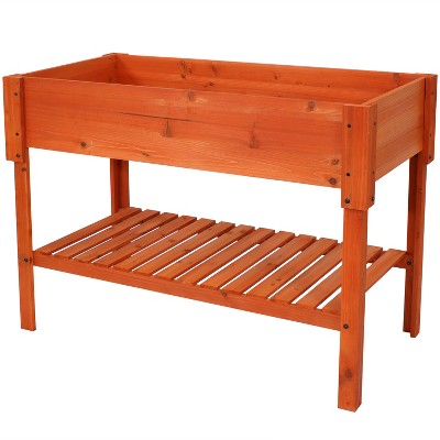 "Sunnydaze Raised Wooden Garden Bed Planter Box with Shelf - 42"" - Stained Finish"