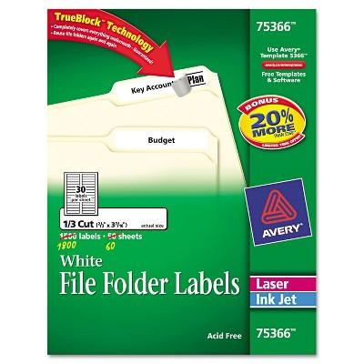 Avery Permanent File Folder Labels TrueBlock Laser/Inkjet 2/3 x 3 7/16 1800/Box 75366