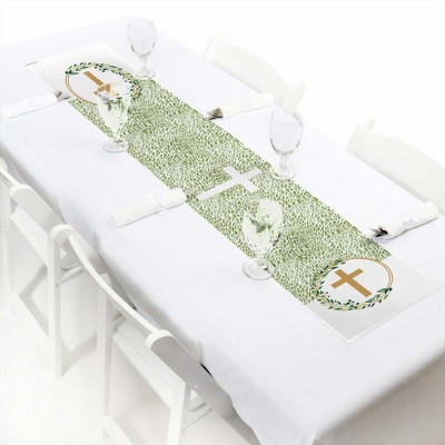 Big Dot of Happiness Elegant Cross - Petite Religious Party Paper Table Runner - 12 x 60 inches