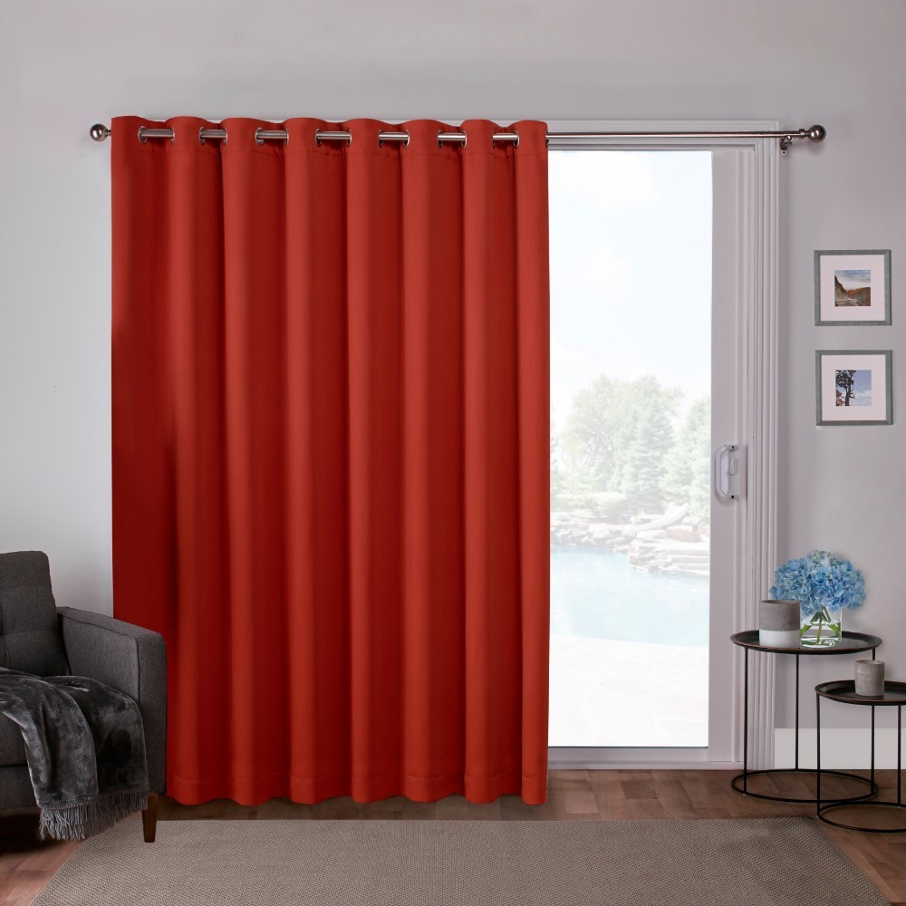 "Image of ""100""""x84"""" Sateen Blackout Solid Grommet Top Extra Wide Curtain Panel Orange - Exclusive Home"""
