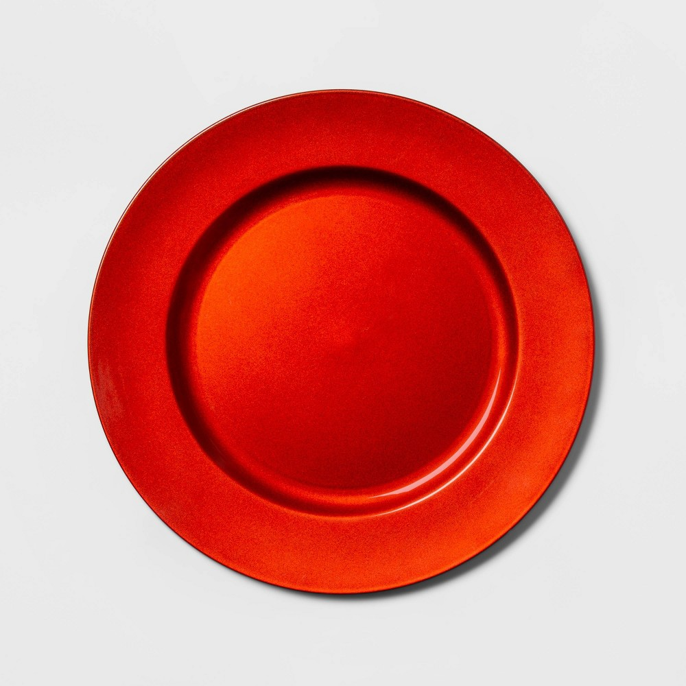 "Image of ""12.9"""" Plastic Round Decorative Charger Red - Threshold"""