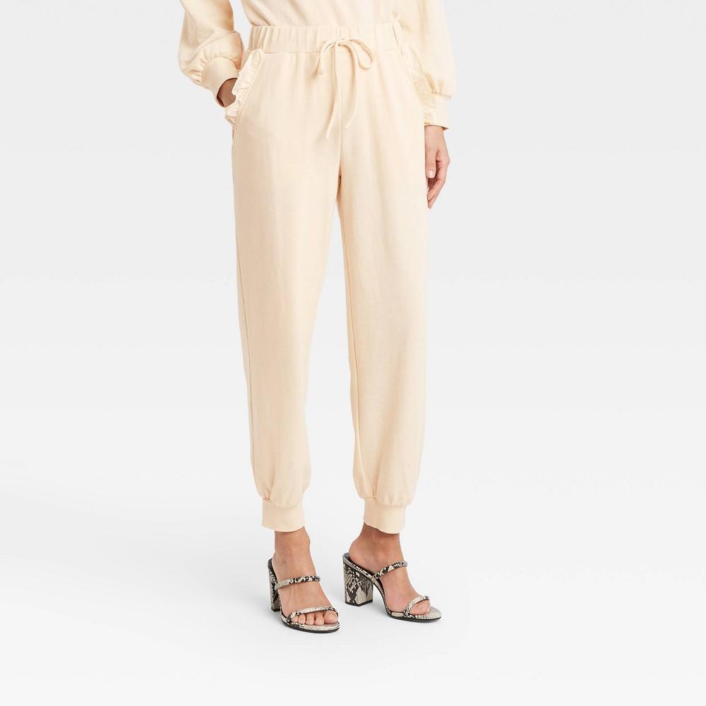 Women 39 S Regular Fit Ruffle Detail Jogger Sweatpants Who What Wear 8482 Cream Xs