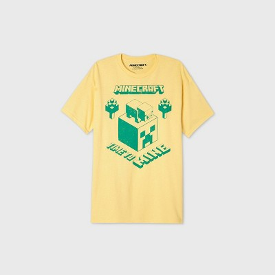 Men's Minecraft Time to Mine Short Sleeve Graphic T-Shirt - Yellow XL
