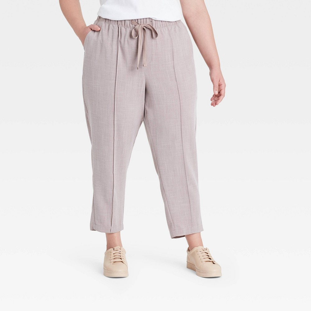 Women 39 S Plus Size Tapered Pull On Linen Pants Ava 38 Viv 8482 Brown X