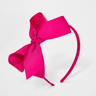 Girls' Ribbon Bow Headband - Cat & Jack™ Magenta