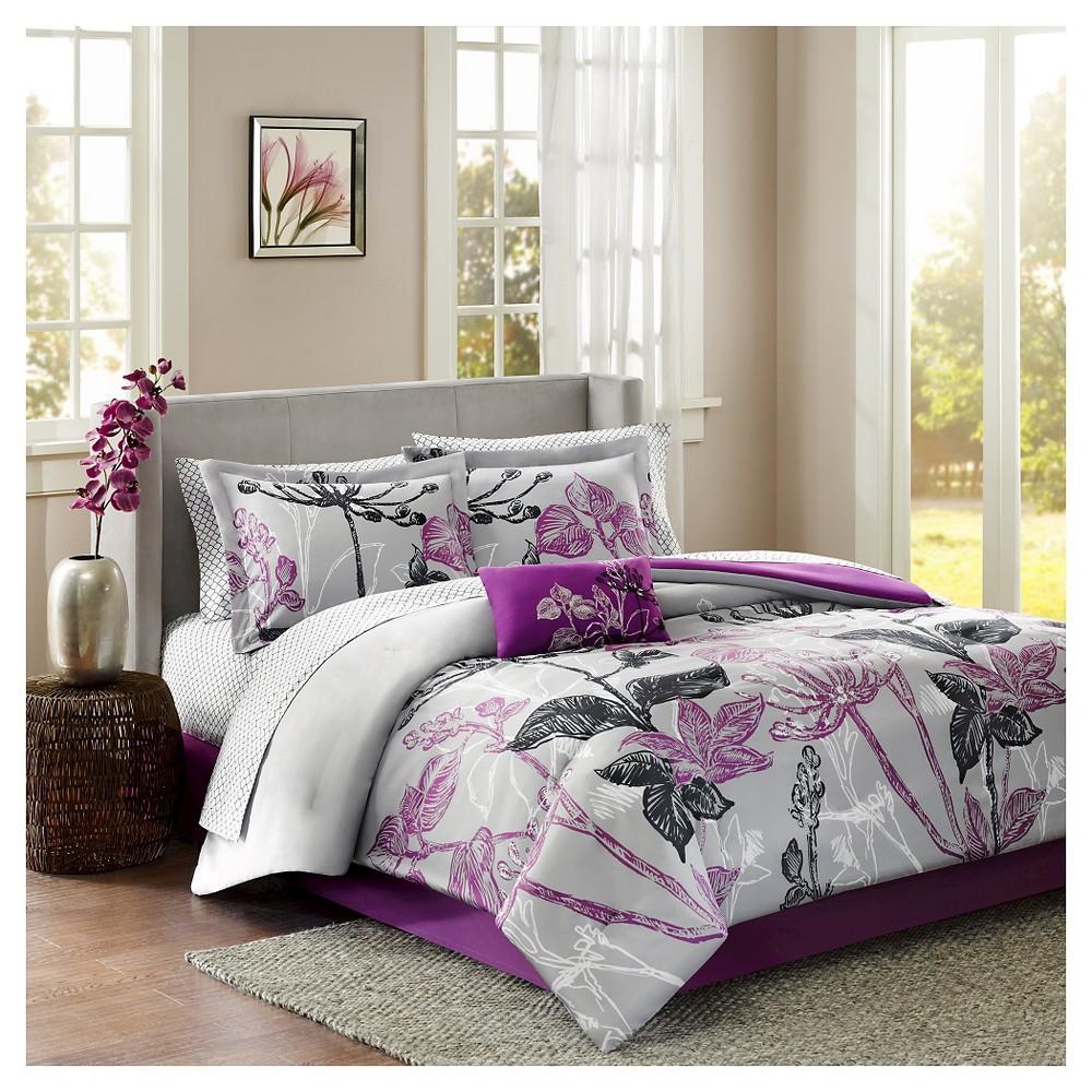 Kendall 9 Piece Comforter Set - Purple (Queen)