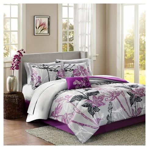 Kendall 9 Piece Comforter Set Purple, Pink Purple Bedspread Queen