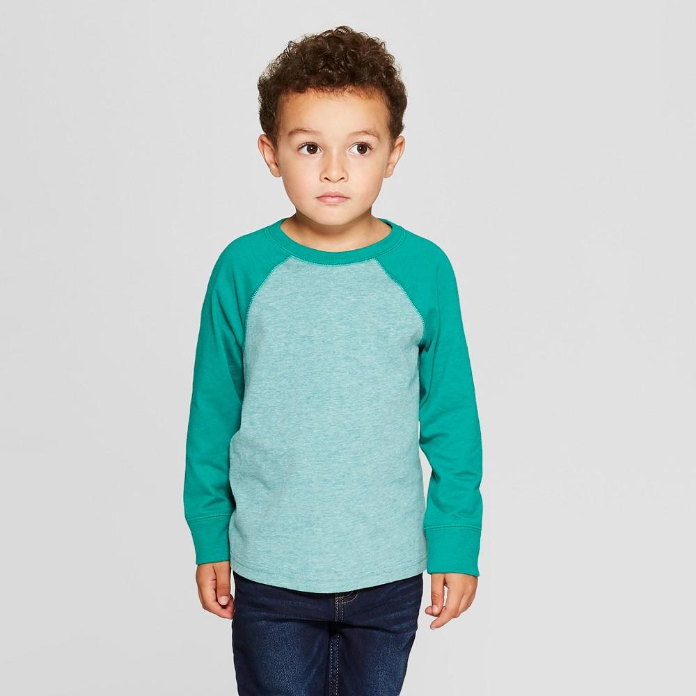 Toddler Boys' Long Sleeve Raglan T-Shirt - Cat & Jack Green 4T