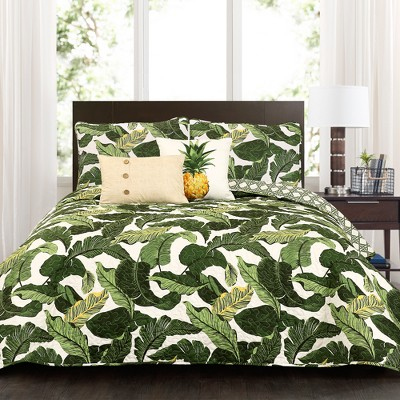 Green Tropical Paradise Quilt Set (Full/Queen)5pc - Lush Decor