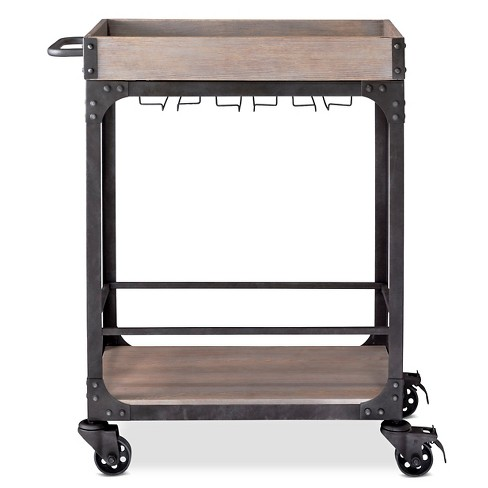 Franklin Bar Cart and Wine Rack Weathered Gray - Threshold™ - image 1 of 4