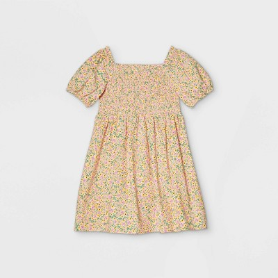 Girls' Smocked Woven Puff Sleeve Dress - Cat & Jack™ Yellow