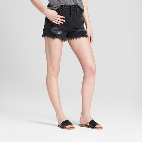 Women's High-Rise Destructed Jean Shorts - Mossimo Supply Co.™ Black - image 1 of 2