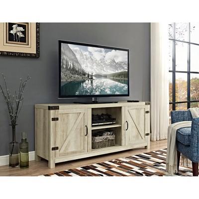 58  Barn Door TV Stand with Side Doors - White Oak - Saracina Home