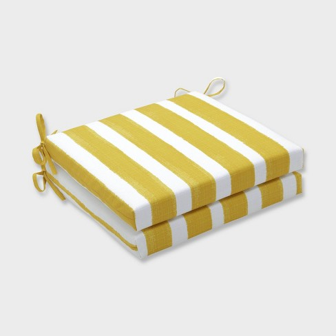 "20"" x 20"" x 3"" 2pk Nico Pineapple Squared Corners Outdoor Seat Cushions Yellow - Pillow Perfect - image 1 of 1"