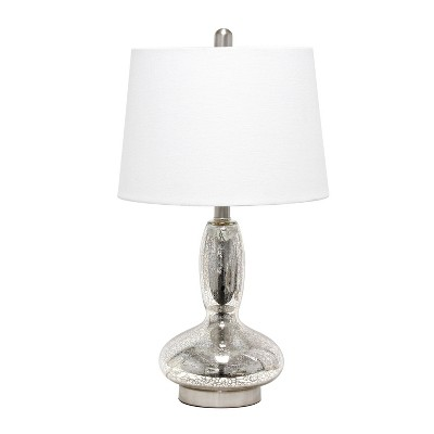 Glass Dollop Mercury Table Lamp with Fabric Shade White - Lalia Home