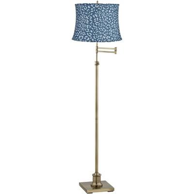 360 Lighting Westbury Blue Leopard Shade Brass Swing Arm Floor Lamp