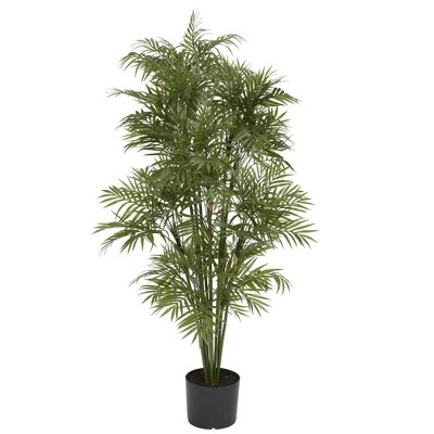"48"" Artificial Plastic Parlor Palm Tree in Pot Black - Nearly Natural"